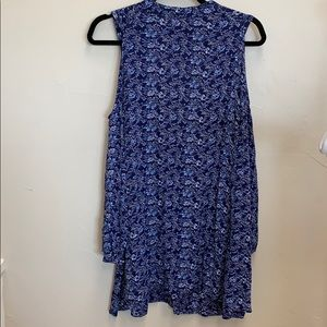 Angie - blue floral cold shoulder tunic blouse S